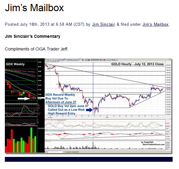 Testimonial of TraderStef Gold Technical Analysis - $100 Successful Swing Trade Posted at Jim Sinclair Mineset July 2013