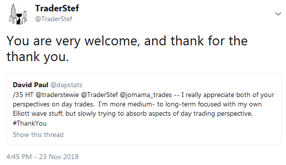 Testimonial from David Paul - Thank You TraderStef November 2018