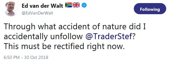 Testimonial from Ed van der Walt at Bloomberg - must follow TraderStef October 2018