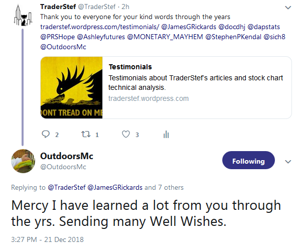 Testimonial from OutdoorsMC - Learned a lot from you over the years - December 2018