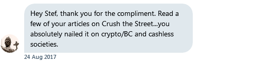 Testimonial from private direct messages and emails - nailed crypto bitcoin technical analysis