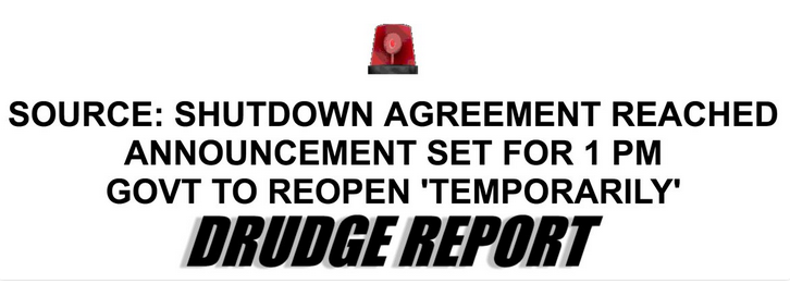 Drudge Report Government Shutdown Deal Headline January 25 2019