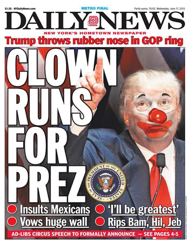 Daily News June 2015 Cover of Trump Clown