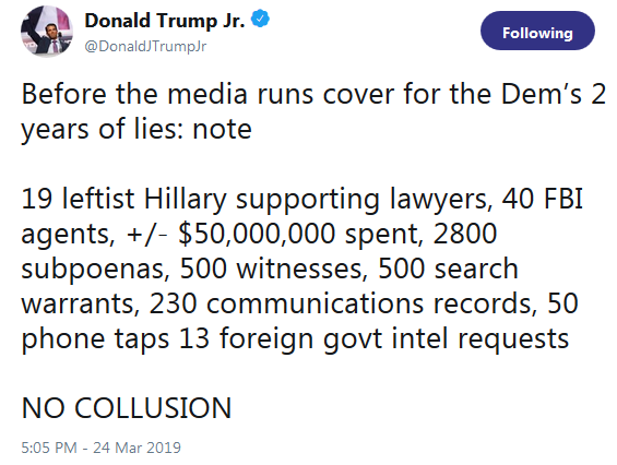 POTUS Jr Twitter No Collusion
