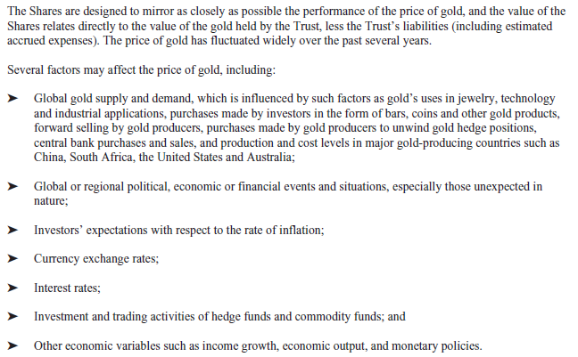 GLD Prospectus - Factors That Influence the Price of Gold
