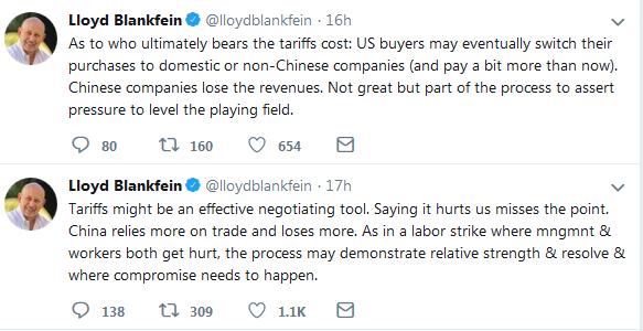 Lolyd Blankfein Twitter on China Tarrifs