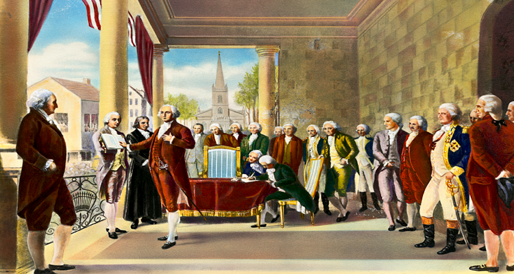 Painted Rendition of President Washington's Inaugurationat Federal hall by Ramon de Elorriaga