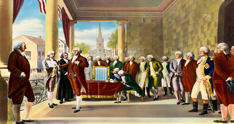 Painted Rendition of President Washington's Inaugurationat Federal hall by Ramon de Elorriaga