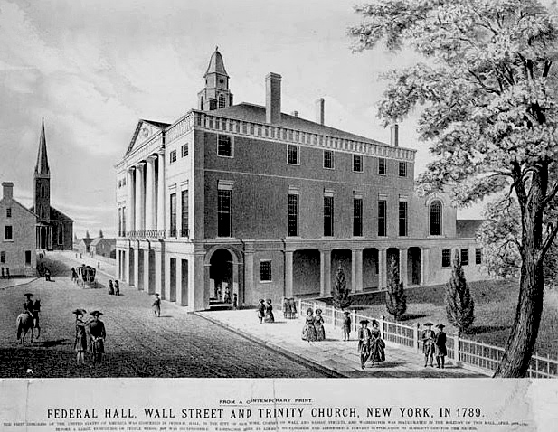 The Original New York City Hall Building on Wall Street
