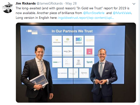 Jim Rickards Twitter on In Gold We Trust 2019