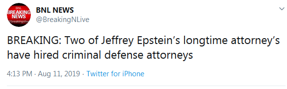 Epstein Attorney Hires Criminal Defense Attorney