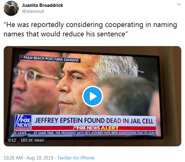 Juanita Broaddrick Twiiter - Epstein Naming Names on Fox News