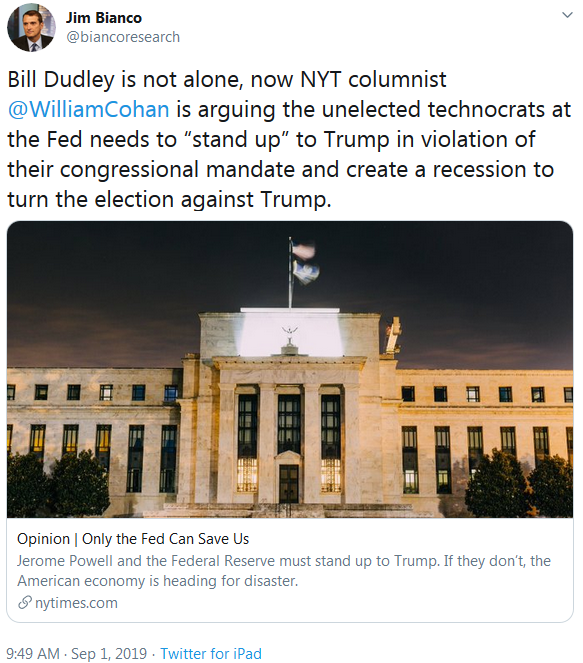 Jim Bianco on Twitter - Bill Dudley is not alone, now NYT arguing recession to turn 2020 Election