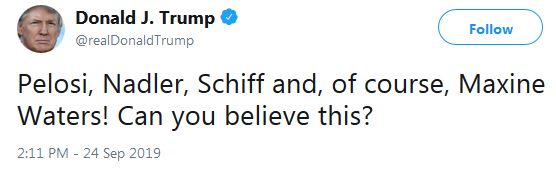 POTUS on Twitter - Impeachment, Can You Believe This?