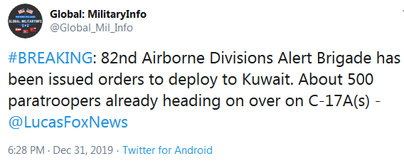 82nd Airborne Alert Brigade Deployed to Kuwait