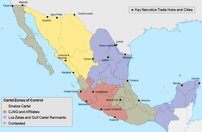 Map of Mexico Cartels Influence