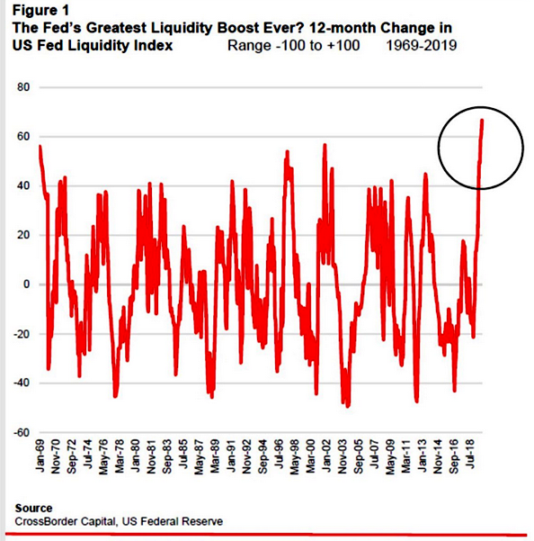 Fed Liquidity Index - Injections 1969 to 2019