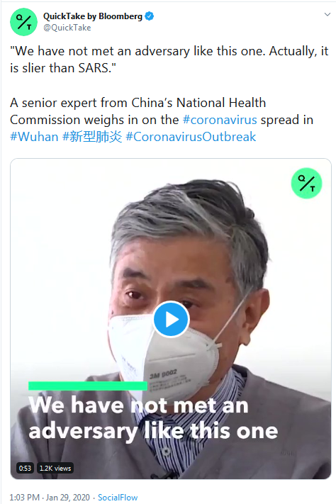 2019-nCov Coronavirus is Slier than SARS - Chinese Official