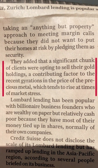 Financial Times Mar. 15, 2020 - Margin Calls Use Gold Paper Contracts to Raise Cash