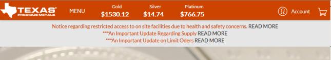 Texas Precious Metals Retail Demand vs. Supply Shortage Confirm