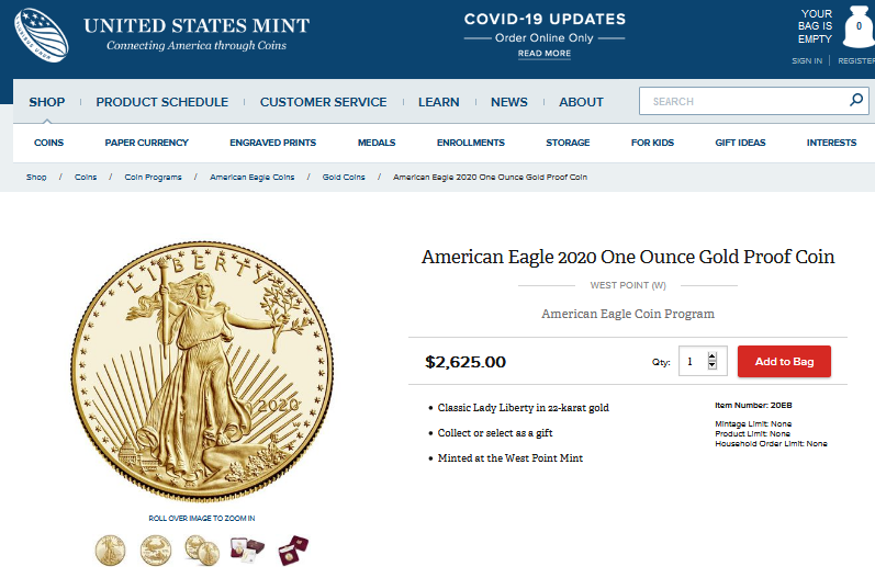 American Eagle Gold 1oz Proof Aug. 15, 2020 USMINT Price
