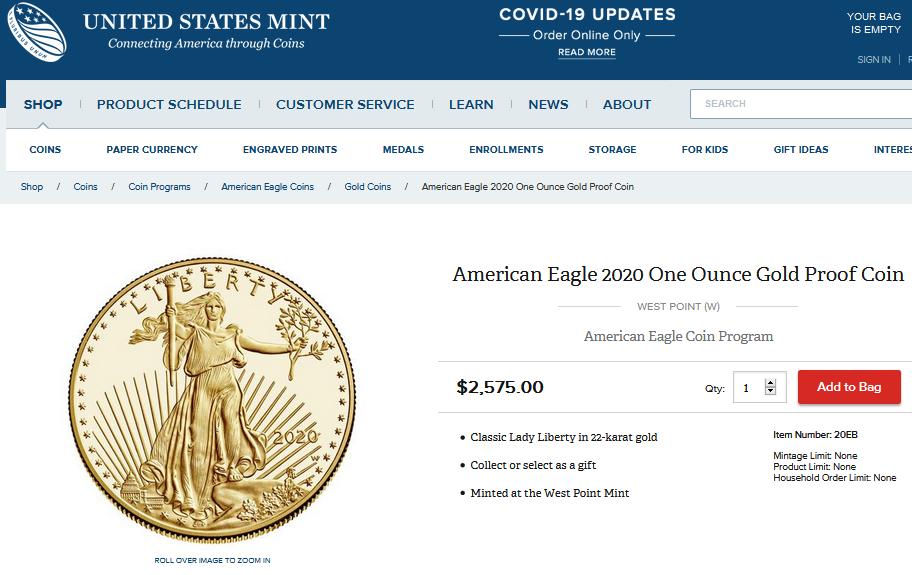 USMint 1oz Gold Proof American Eagle Aug 4, 2020