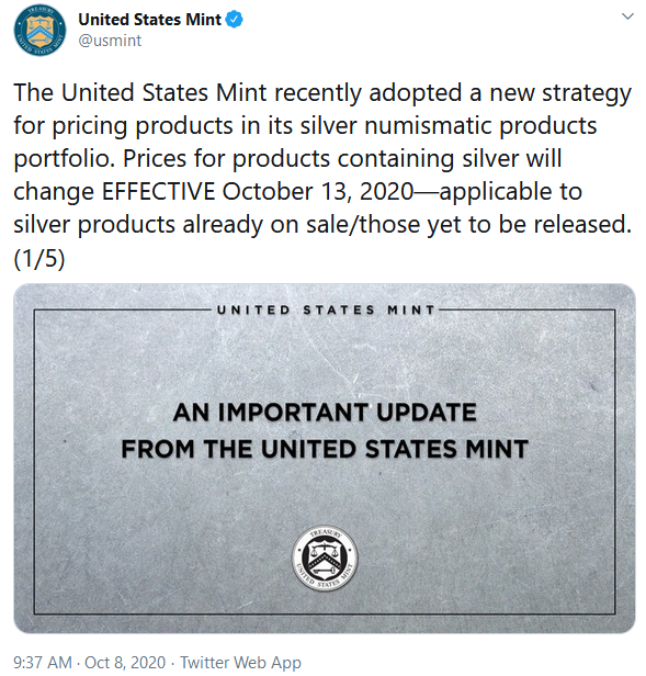 United States Mint Twitter Silver Price Reset Announcement