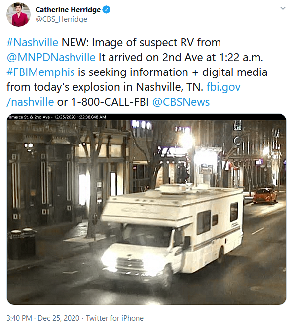 Nashville Metro PD Photo of RV Bomb