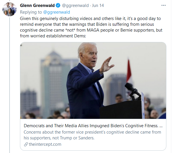 Greenwald on Biden Cognitive Decline