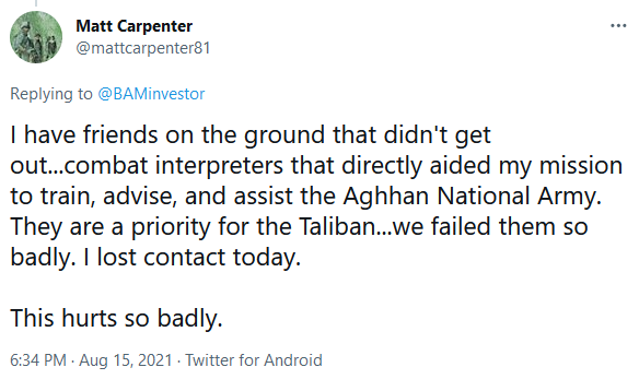 Matt Carpenter on Twitter - Lost Contact With Former Afghan Collaborators