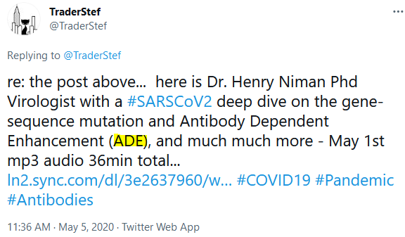 TraderStef's First ADE in a Twitter Post on May 5 2020