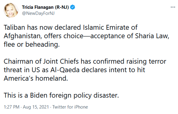 Tricia Flanagan on Twitter re: Terror Threat to U.S. with Taliban Controlling Afganistan
