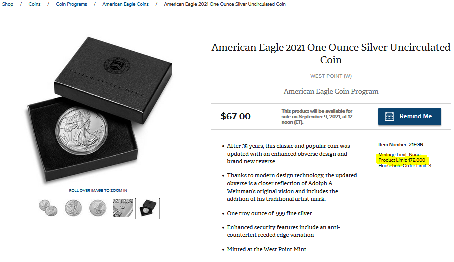 American Eagle BU 1oz W Sep. 9, 2021 US Mint Release