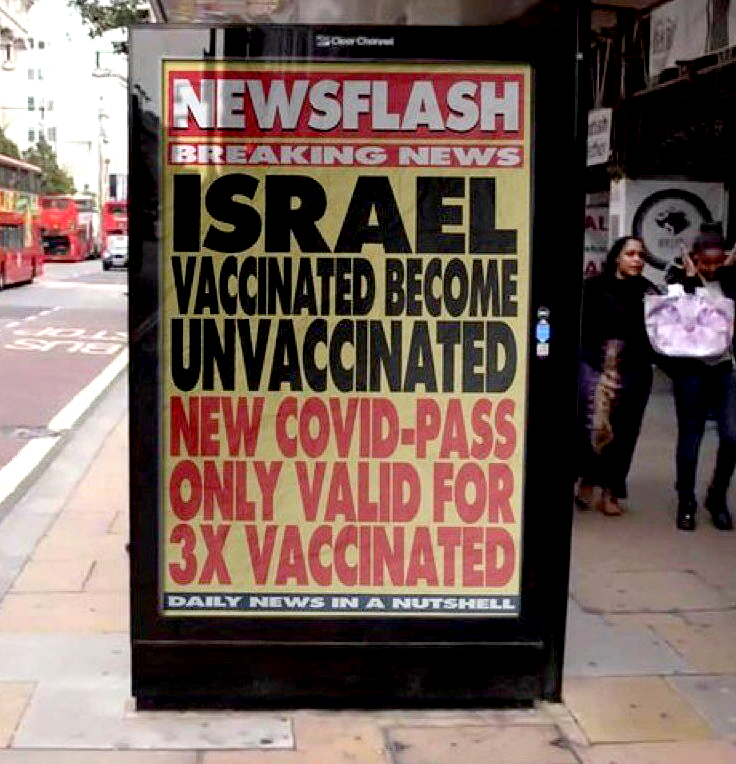Israel Jabbed Become Unjabbed - London Bus Stop Advertisement