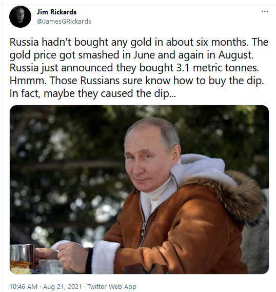 Jim Rickards Twitter on Russia Buying the Dips in Gold