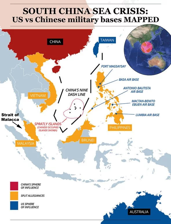 Map fo U.S. and China Military Bases in South China Sea