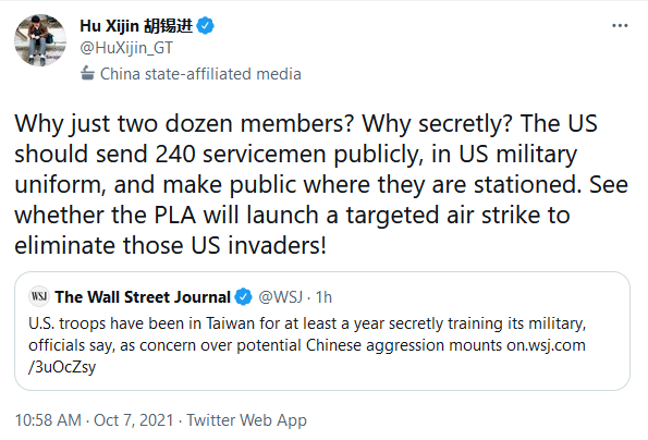 Hu Xijin Global Times Editor in Chief Lashes Out at US Military in Taiwan noted in WSJ