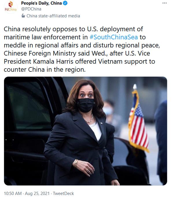 Peoples Daily China Twiiter Response to Kamala Harris in Vietnam